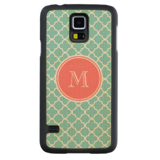 Teal Quatrefoil Pattern, Coral Monogram Carved® Maple Galaxy S5 Case