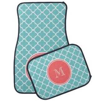 Teal Quatrefoil Pattern, Coral Monogram Floor Mat