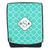 Teal Quatrefoil Pattern Monogram Backpack