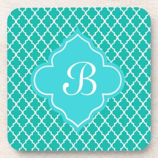 Teal quatrefoil pattern monogram coasters