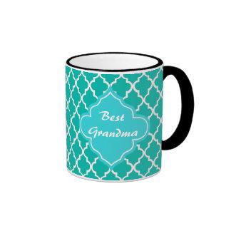 Teal quatrefoil pattern monogram mugs
