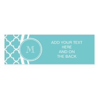Teal Quatrefoil Pattern, Your Monogram Business Cards