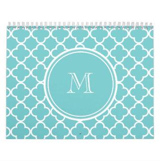 Teal Quatrefoil Pattern, Your Monogram Wall Calendar