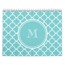 Teal Quatrefoil Pattern, Your Monogram Calendar