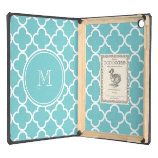 Teal Quatrefoil Pattern, Your Monogram Case For iPad Air