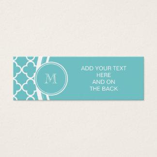 Teal Quatrefoil Pattern, Your Monogram Mini Business Card