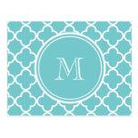 Teal Quatrefoil Pattern, Your Monogram Post Card