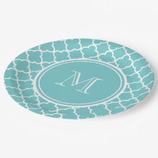 Teal Quatrefoil Pattern, Your Monogram 9 Inch Paper Plate