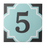 "Teal quatrefoil street address house number tile<br><div class=""desc"">Turquoise / Teal blue morrocan quatrefoil home street address house number tile Personalized numbered wall tile with elegant chic typography.  Cute gift idea for new home and house warming party. Customizable text and background colors. Stylish Wall sign home decor.</div>"