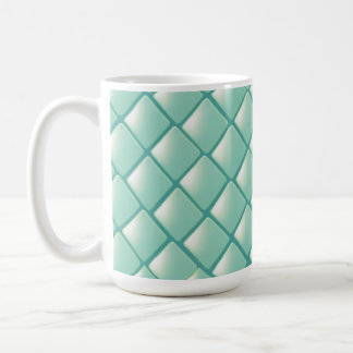 Teal Quilted Diamond Pattern Mugs