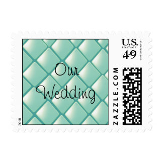 Teal Quilted Diamonds Postage