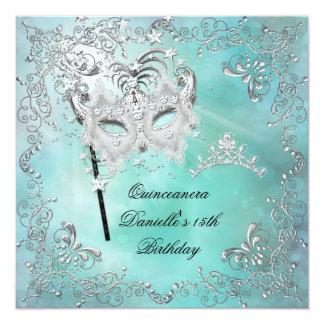 Teal Quinceanera 15th Birthday Tiara Masquerade Personalized Invitations