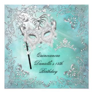 Teal Quinceanera 15th Birthday Tiara Masquerade 5.25x5.25 Square Paper Invitation Card