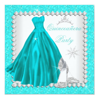 Teal Quinceanera 15th Diamond Birthday Party 5.25x5.25 Square Paper Invitation Card