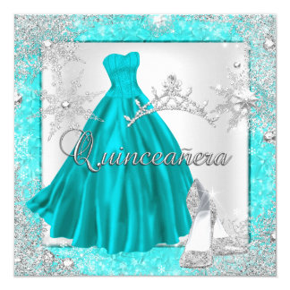 Teal Quinceanera 15th Elite Elegant Birthday Party Card