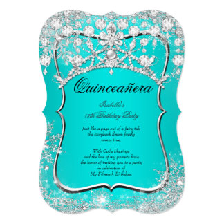 Teal Quinceanera 15th Winter Wonderland Silver Card