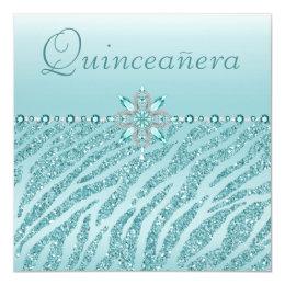 Teal Quinceanera Printed Jewels & Zebra Glitter Card