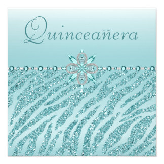 Teal Quinceanera Printed Jewels & Zebra Glitter Card