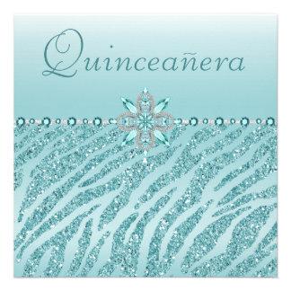 Teal Quinceanera Printed Jewels Zebra Glitter Personalized Invite