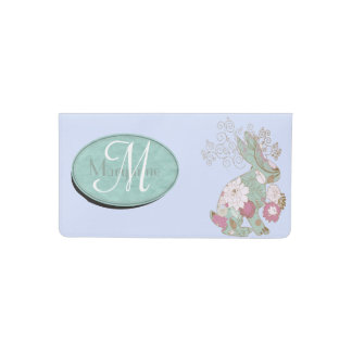 Teal Rabbit with Floral Overlay Checkbook Cover