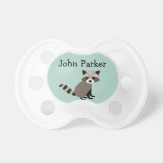 Teal Raccoon Pacifier Binky with name