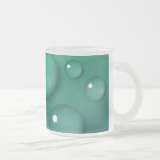 Teal Raindrop Texture Frosted Glass Coffee Mug