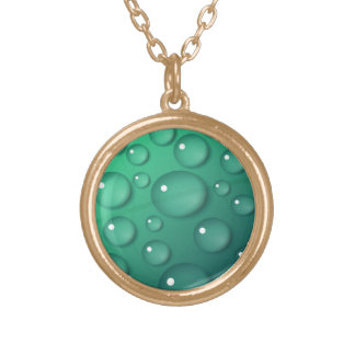 Teal Raindrop Texture Gold Plated Necklace