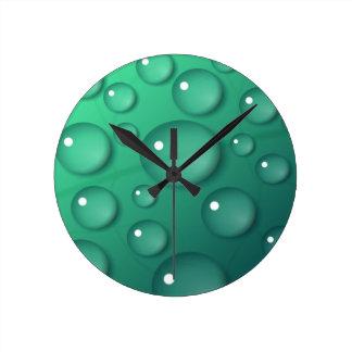 Teal Raindrop Texture Round Clock