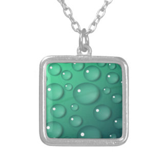 Teal Raindrop Texture Silver Plated Necklace