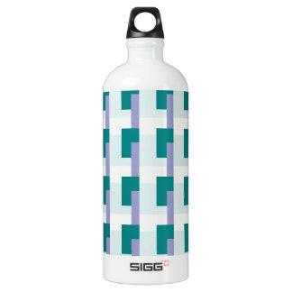 Teal Rectangles Aluminum Water Bottle