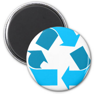 teal recycle 2 inch round magnet