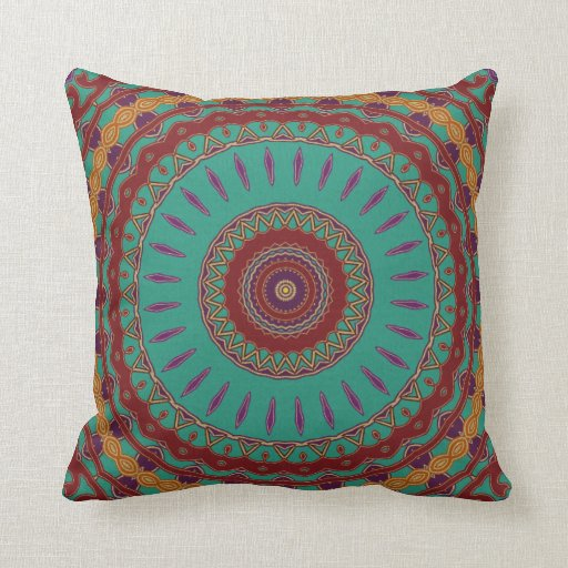 Teal, Red and Purple Mandala Throw Pillow Zazzle
