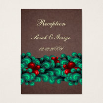 """teal&red"" aqua brown wedding Reception Cards"