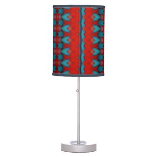 Teal Red Artistic Pattern Lamp