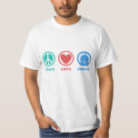 Teal/Red/Blue Icons Peace Love Bernie T-Shirt