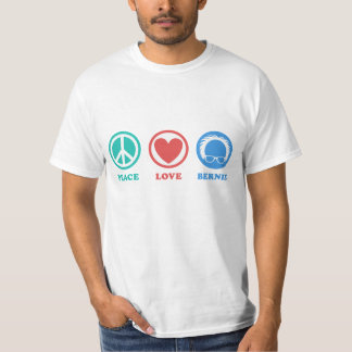 Teal/Red/Blue Icons Peace Love Bernie T-Shirt
