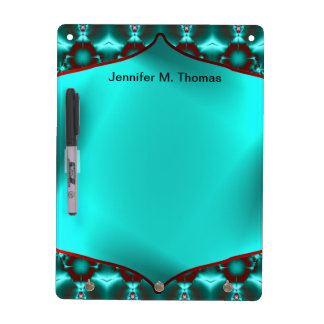 Teal Red Colorful Abstract Dry Erase Board
