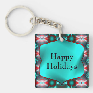 Teal Red Colorful Happy Holidays Keychain