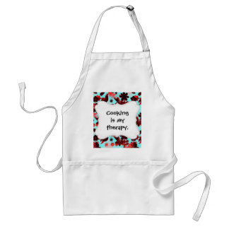 Teal Red Flowers Birds Butterflies Faded Grunge Adult Apron