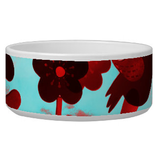 Teal Red Flowers Birds Butterflies Faded Grunge Bowl