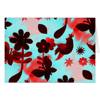 Teal Red Flowers Birds Butterflies Faded Grunge Card