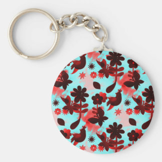 Teal Red Flowers Birds Butterflies Faded Grunge Key Chains