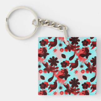 Teal Red Flowers Birds Butterflies Faded Grunge Keychain