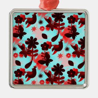 Teal Red Flowers Birds Butterflies Faded Grunge Metal Ornament