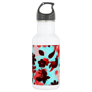Teal Red Flowers Birds Butterflies Faded Grunge 18oz Water Bottle