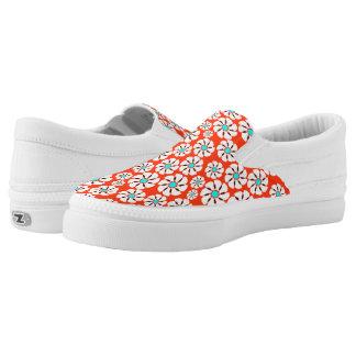 Teal Red Flowers Slip-On Sneakers