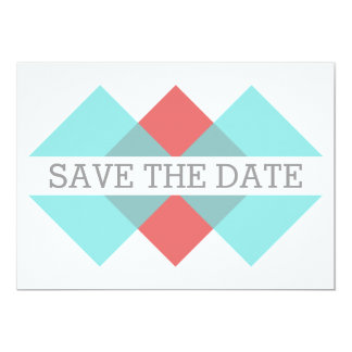 Teal Red Geometric Triad Save the Date Invite