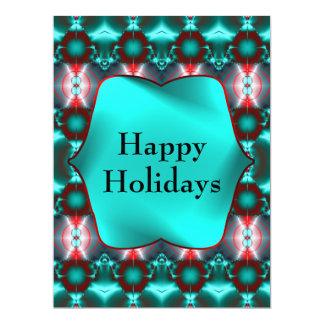 Teal Red Happy Holidays Card