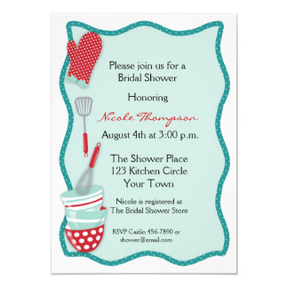 Teal & Red Kitchen Bridal Shower Invitation