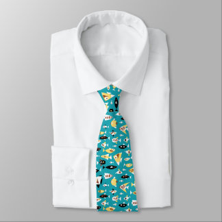 Teal Red Yellow Black White Retro Fish Pattern Tie